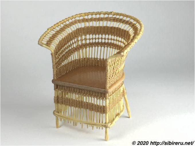 ドールハウスサイズ手作り籐椅子