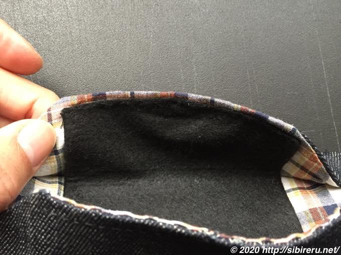 デニム手縫い自作マスク内側