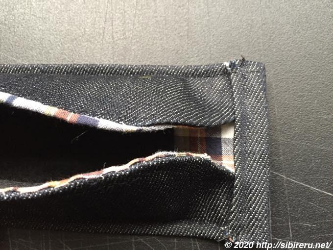 デニム手縫い自作マスクゴム紐通し2