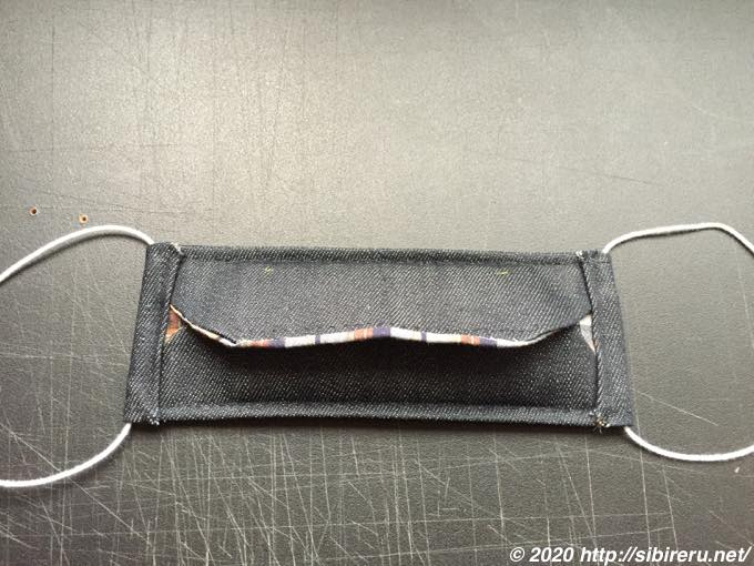 デニム手縫い自作マスク完成3